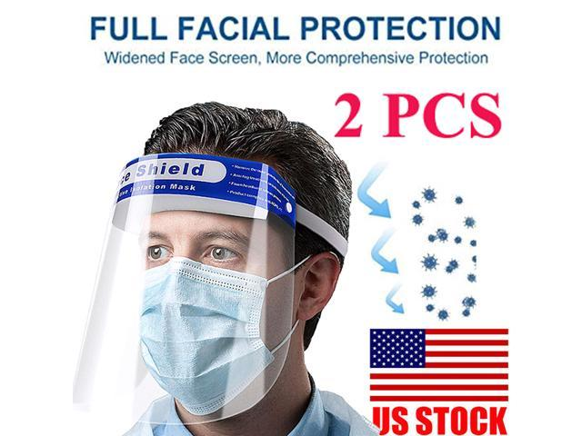 2 PCS Safety Full Face Shield Reusable Washable Protection Cover Face Mask