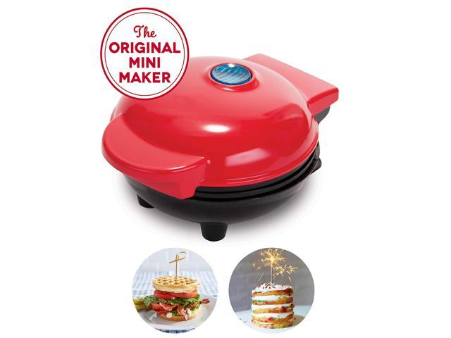 The Mini Waffle Maker Machine for Individual Waffles, Paninis, Hash browns, & other on the go Breakfast, Lunch, or Snacks - Red