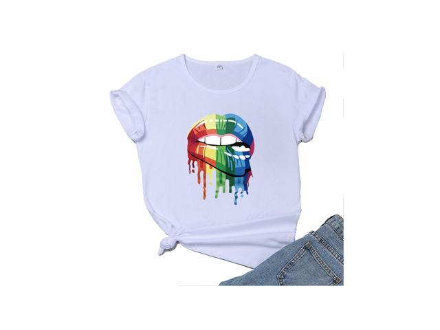Winsummer Lips Kiss 80s Vintage T-Shirt for Women Casual Color Lips Graphic Tees Short Sleeve Summer T Shirts Tops