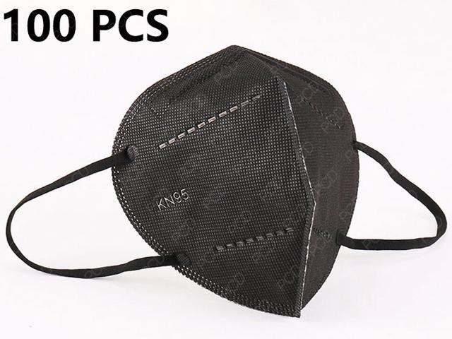 100 PCS N95 KN95 Face Mask, 5 Layer Anti Pollution Earloop Face Masks For Personal Protective N95 Respirator Reusable, Anti Fog PM2.5 Masks (Black)