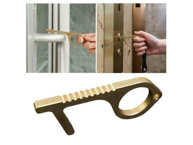Safety Contactless Door Opener Hand Tool Brass No Touch Handle Key Antimicrobial