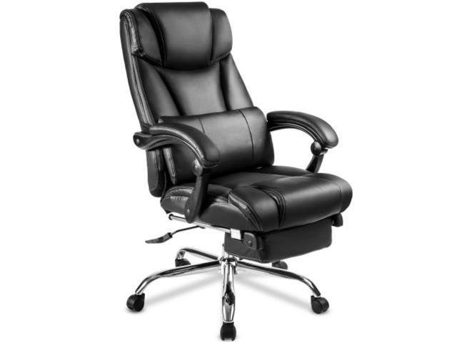 High Back Reclining Office Gaming Chair Pu Leather Executive Computer Desk Chair With Retractable Footrest Adjustable Height Ergonomic Swivel Chair With Metal Base Black Newegg Com