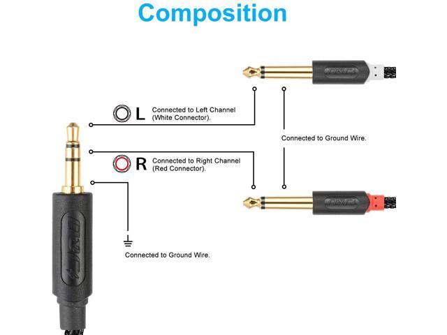 Gold-Plated J/&D 3.5 mm to 2 X 6.35 mm Amplifiers 3.5mm 1//8 TRS Male to Dual 6.35mm 1//4 TS Male Mono Audio Splitter Cable for Smartphone 9 Feet Audiowave Series