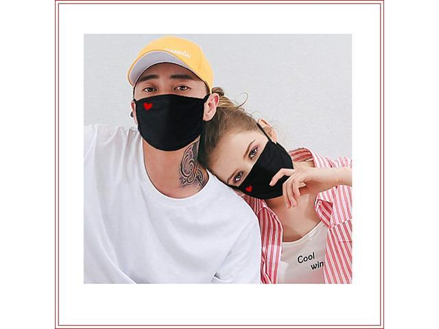 Reusable Dustproof Face Cover for Outdoor Activities Unisex Cute Heart Mouth Cover 2 Pack Cotton Face Cover