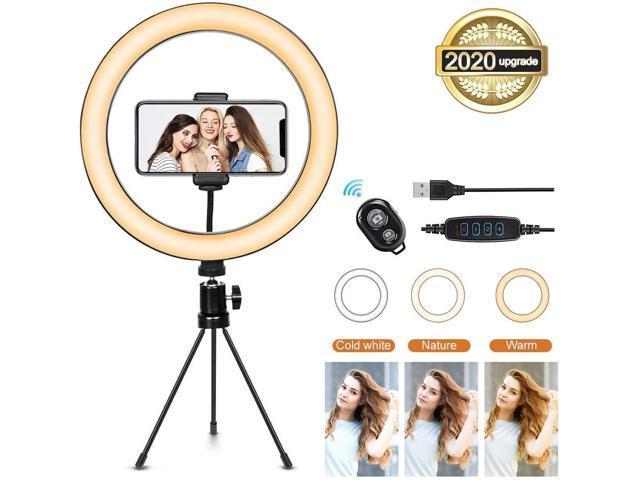 【2020 Upgraded】 Selfile Ring Light with Webcam Mount /& Phone Holder for Computer Laptop Desk Light LED Clip on Light for Live Stream//Makeup//YouTube Video Webcam Ring Light Stand for Live Stream