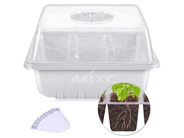 10 Pack Seed Starter Trays Seedling Tray Plant Grow Kit Mini Propagator With Humidity Vented Dome And Base For Seeds Starting Greenhouse 6 Cells Per Tray Newegg Com