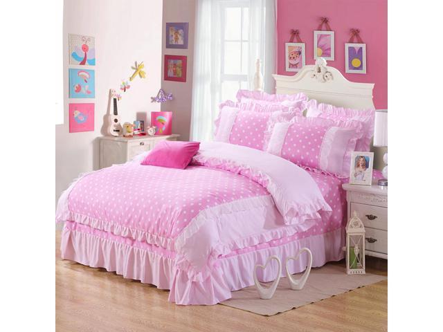 4pcs Set Korean Princess Bed Sheet, Princess Bed Set Queen