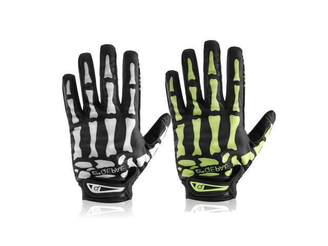 Motorcycle Full Finger Gloves Skeleton Bone Skull Outdoor Sports Cycling Bike White/L