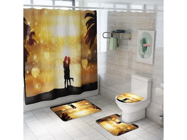Basketball Fans Shower Curtain Bath Mat Toilet Cover Rug Bathroom Decor Set