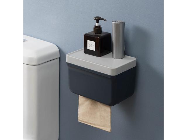 Blue Wall Mounted Waterproof//Paper Holder Bathroom Paper Roll Holder//Toilet Paper Dispenser Cat Proof Wall Mounted No Drilling Waterproof Toilet Paper Holder Cover Bathroom Tissue Roll Holder