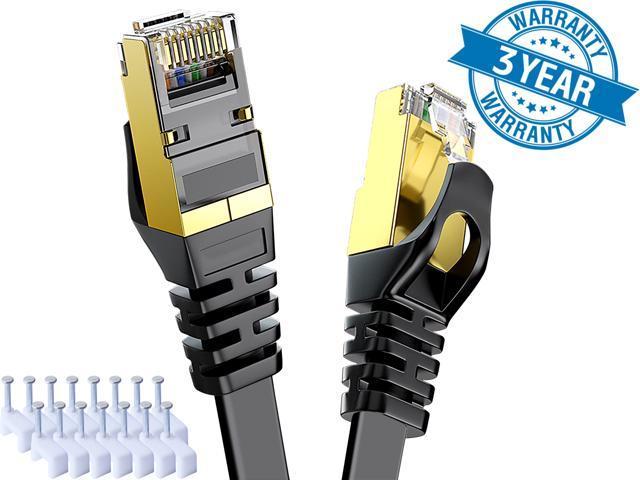 CAT 7 Ethernet Cable 50 ft Black Flat Gigabit RJ45 LAN Wire - Sale: $23.99 USD