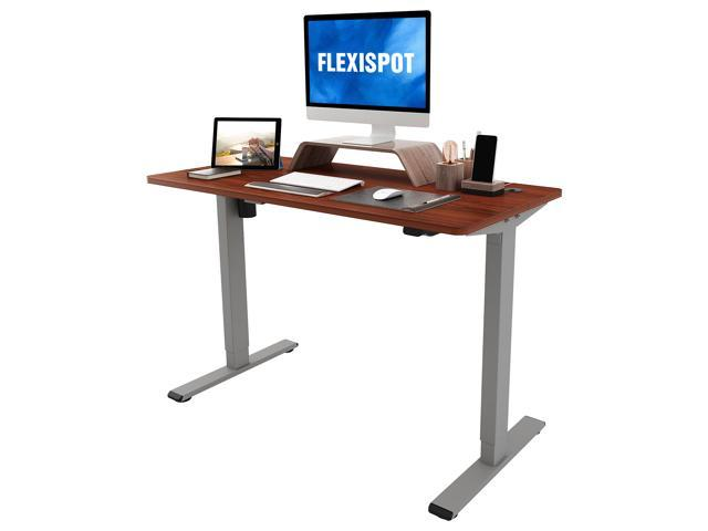 FLEXISPOT Home Office Standing Desk 48 x 24 Inches Height Adjustable Desk Electric Sit Stand Desk with Cable Management (Gray Frame + Mahogany Top)