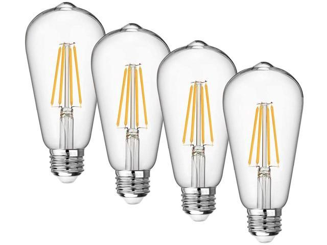 Vintage Led Edison Bulb Dimmable 8w Led Filament Light Bulb St64 840 Lumen 3000k Soft White 75 100 Watt Incandescent Equivalent E26 Medium Base Decorative Antique Lamp For Home Bathroom Bedroom 4 Pack Newegg Com