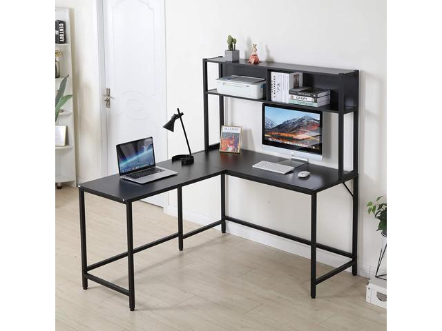Erommy 55 Inch L-Shaped Computer Desk with Hutch, Space-Saving Corner Desk with Storage Shelves, Home Office Desk Study Workstation for Home, Office