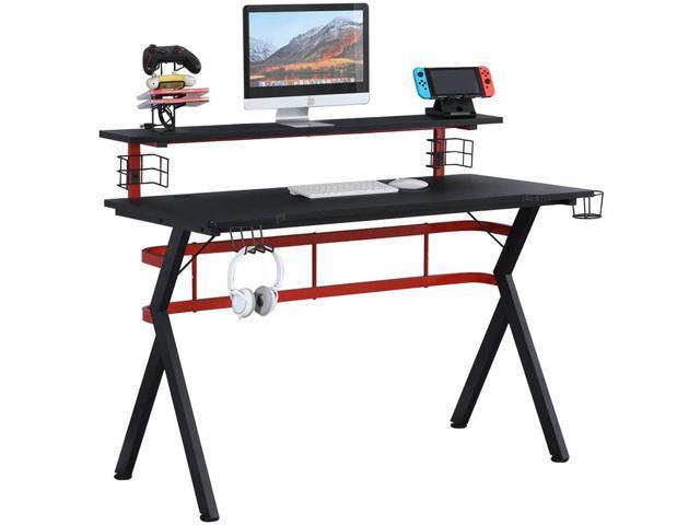 Erommy 47 Inch Gamer Workstation Desk Table with Speaker Stand