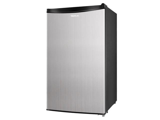 TACKLIFE MVSFR321 3.2 Cu.Ft. Low Noise Mini Fridge with Freezer, Compact Refrigerator, Single Door, Energy Saving, Low-frost Mini Fridge for Bedroom, Office, RV or Dorm with Crisper Drawer, Silver