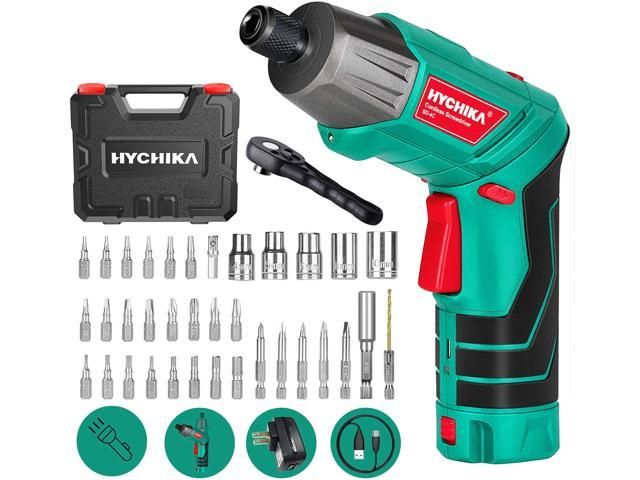 Cordless Screwdriver 6 N.m, HYCHIKA 3.6V 2.0Ah Electric Screwdriver Rechargeable Screw Gun & Bit Set, Front LED and Rear Flashlight, Ratchet Wrench, DC Charging with USB Cable, 36pcs Accessories