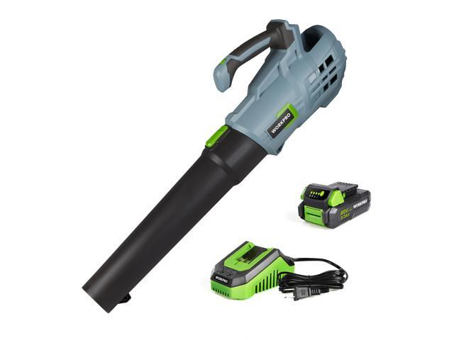 WORKPRO 20V Cordless Leaf Blower, Electric Gardening Tool Powered Sweeper, Bonus 2.0Ah Battery and 1 Hour Quick Charger Included