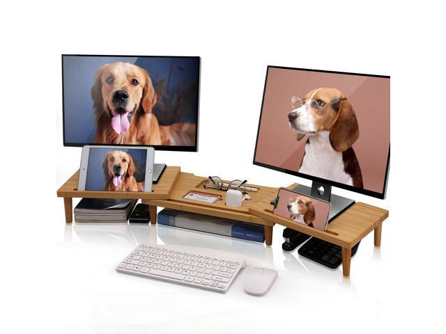 BambuMate Bamboo Dual Monitor Stand Riser, 3 Shelf Adjustable Length Angle Screen Stand, Office Desktop Stand Storage for PC, Laptop, Multifunctional Slot for Phone, Tablet