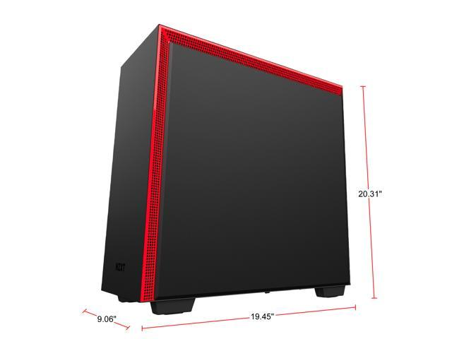 NZXT H700 - ATX Mid-Tower PC Gaming Case - Tempered Glass Panel - Enhanced Cable Management System - Water-Cooling Ready - Black/Red