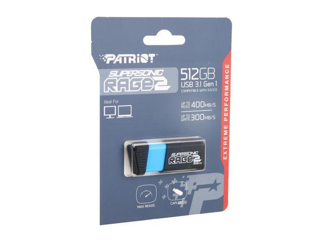 Patriot Memory 512GB Supersonic Rage 2 USB 3.0 Flash Drive, Speed Up to 400MB/s Read, 300MB/s Write, Durable Rubber Housing (PEF512GSR2USB)