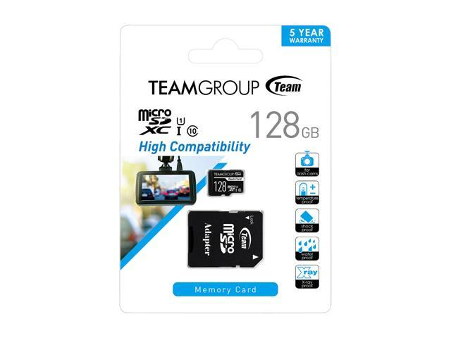 Team 128GB Dash Card microSDXC UHS-I/U1 Class 10 Memory Card with Adapter, Speed Up to 80MB/s (TDUSDX128GUHS03)