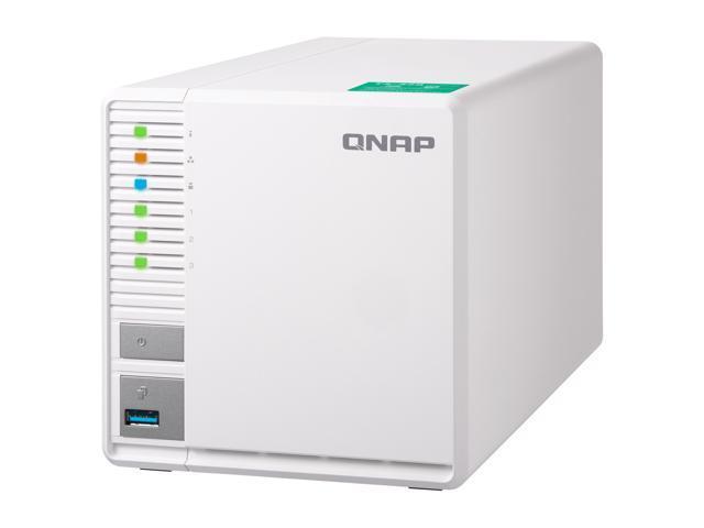 "Qnap 3 Bay TS-328-US Personal Cloud NAS, Ideal for RAID5 Storage. ARM Quad-core 1.4 GHz, 2GB DDR4 RAM, 2 x Gigabit LAN, 2.5"" / 3.5"" SATA HDD (Hot-swappable)"