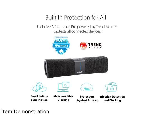ASUS Lyra Voice Home Mesh WiFi System AC2200, Tri-Band, Aiprotection Lifetime Security by Trend Micro, Parental Control, Amazon Alexa Built-in, Bluetooth, Two 8W Stereo Speakers