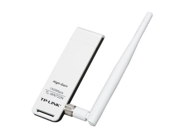 TP-LINK TL-WN722N Wireless N150 High Gain USB Adapter, 150Mbps, w/4 dBi High Gain Detachable Antenna, IEEE 802.11b/g/n, WEP, WPA/WPA2