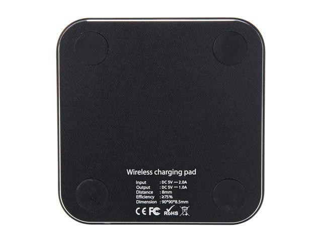 Krazilla KZC99 Black Square Wireless Charging Pad, USB Cable Included