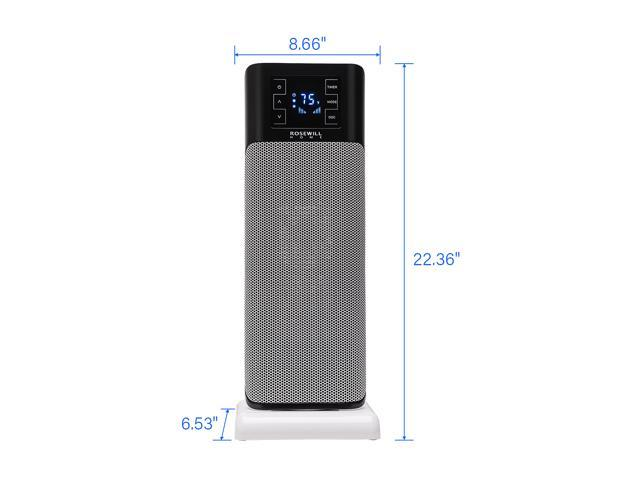 "Rosewill Electric Oscillating Tower Heater Fan with Thermostat / Portable Ceramic Space Heater with Remote Control, Digital Display, Timer, 1500W 22"" Tall for Home or Office - RHTH-18001"