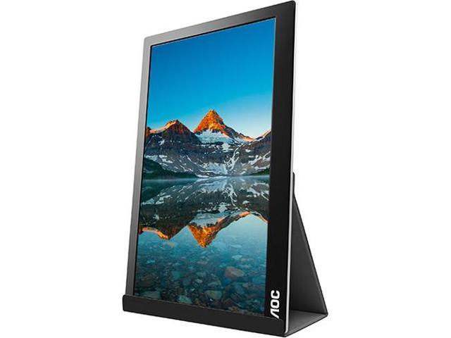 Refurbished: AOC I1601FWUX 16-Inch IPS Extremely Slim USB-C Powered Portable Monitor, 1920x1080 Res, 5ms, Smart Cover/Stand