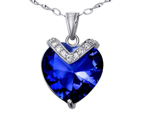 """Mabella PWS006CBS 10.84 cttw Heart Shaped 15mm Created Blue Sapphire Pendant in Sterling Silver with 18"""" Chain"""