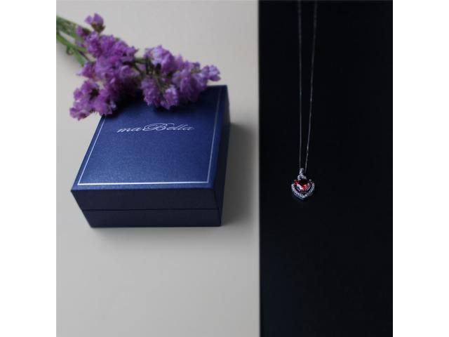 "Mabella 2.0cttw Heart Shaped 8mm x 8mm Created Garnet Pendant in Sterling Silver with 18"" Chain"