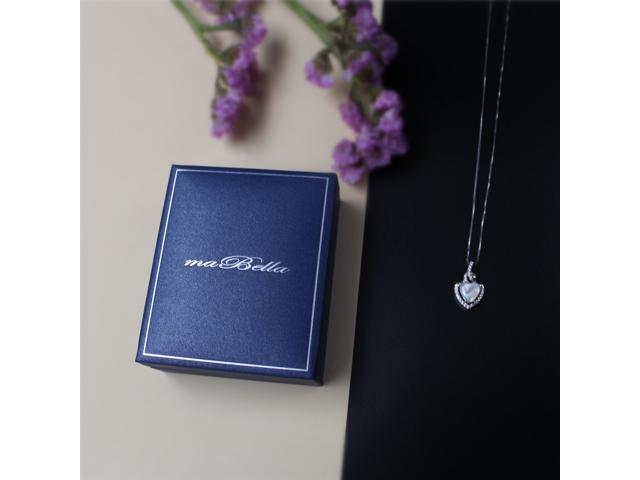"""Mabella 2.0cttw Heart Shaped 8mm x 8mm Simulated Pearl Pendant in Sterling Silver with 18"""" Chain"""
