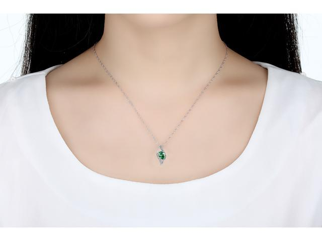"Mabella 0.78 Cttw Oval Cut 7mm*5mm Created Emerald Pendant Sterling Silver with 18"" Chain"
