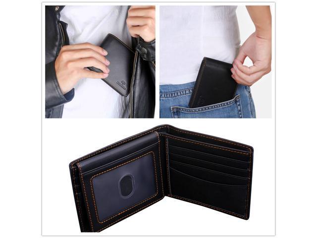Mabella Men's RFID Blocking Genuine Leather Bifold 2 ID Window Travel Wallet, Gift for Men - Black