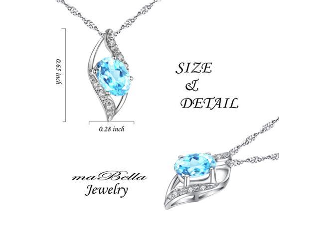 "Mabella 0.78 Cttw Oval Cut 7mm*5mm Created Aquamarine Pendant Sterling Silver with 18"" Chain"