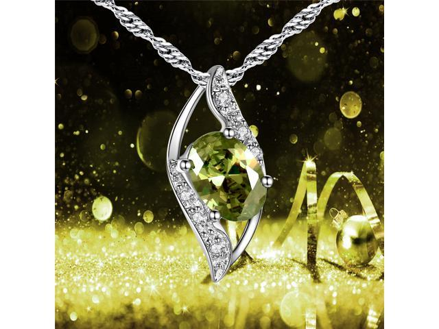 """Mabella 0.78 Cttw Oval Cut 7mm*5mm Created Peridot  Pendant Sterling Silver with 18"""" Chain"""