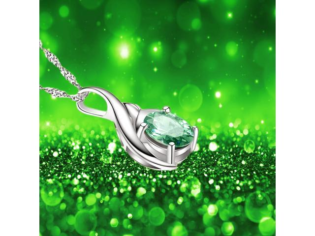 """Mabella 0.75 Cttw Oval Cut 7mm x 5mm Created Emerald Pendant Sterling Silver with 18"""" Chain"""