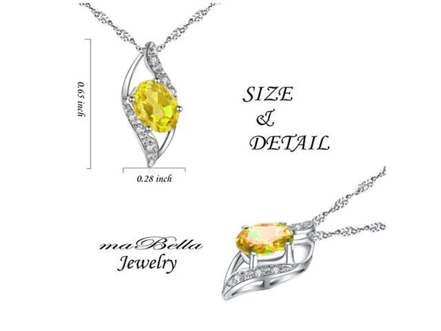 """Mabella 0.78 Cttw Oval Cut 7mm*5mm Created Citrine Pendant Sterling Silver with 18"""" Chain"""