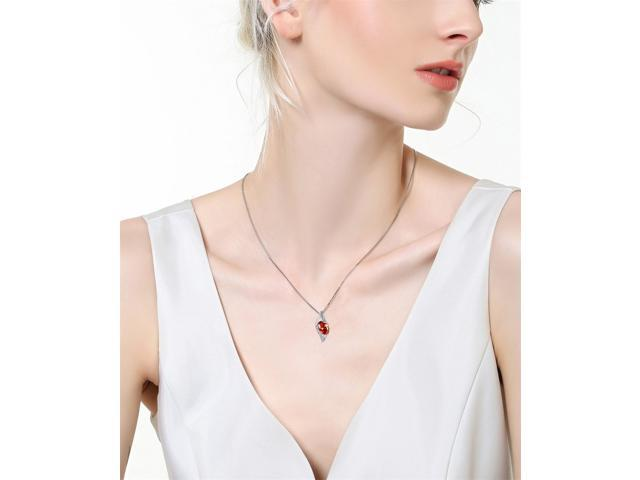 """Mabella 0.78 Cttw Oval Cut 7mm*5mm Created Garnet Pendant Sterling Silver with 18"""" Chain"""