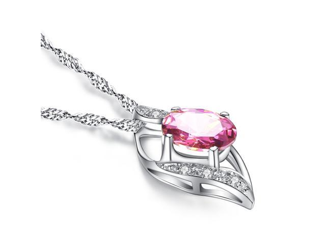 """Mabella 0.78 Cttw Oval Cut 7mm*5mm Pink Topaz Pendent Sterling Silver with 18"""" Chain"""