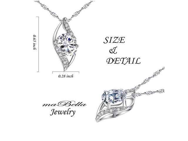 "Mabella 0.78 Cttw Oval Cut 7mm*5mm  Cubic Zirconia Pendant Sterling Silver with 18"" Chain"