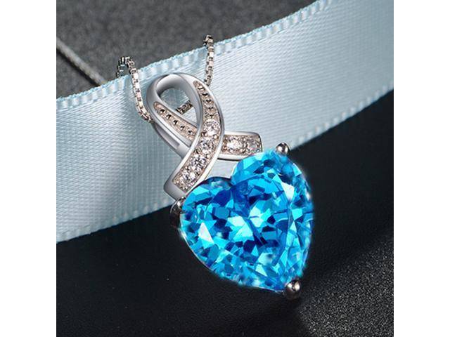 """Mabella PWS001CT 6.06 cttw Heart Shaped 12mm x 12mm Created Blue Topaz in Sterling Silver Pendant w/ 18"""" Chain"""