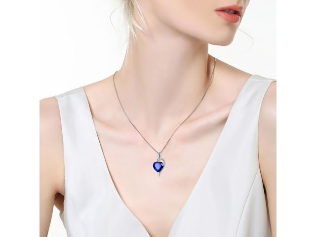 """Mabella Fashion PWS004CBS 4.10 cttw Heart Shaped 10mm x 10mm Created Blue Sapphire Pendant in Sterling Silver with 18"""" Chain"""