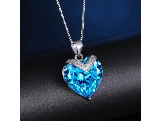 "Mabella 10.84 CTW Heart Shaped Created Blue Topaz Pendant in Sterling Silver w/ 18"" Necklace"