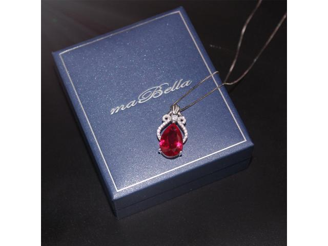 """Mabella 6.15 cttw Pear Cut 10mm x 15mm Created Ruby Sterling Silver  Pendant with 18"""" Chain"""