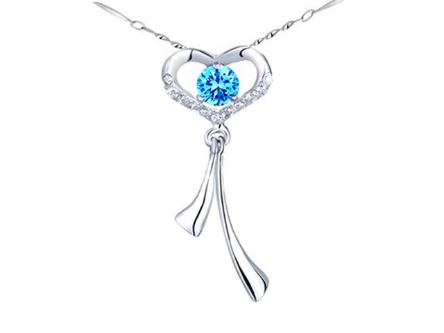 "Mabella Fashion WF-P001CT 0.56 CTTW Round 5mm Created Blue Topaz in Sterling Silver Pendant with 18"" Chain"