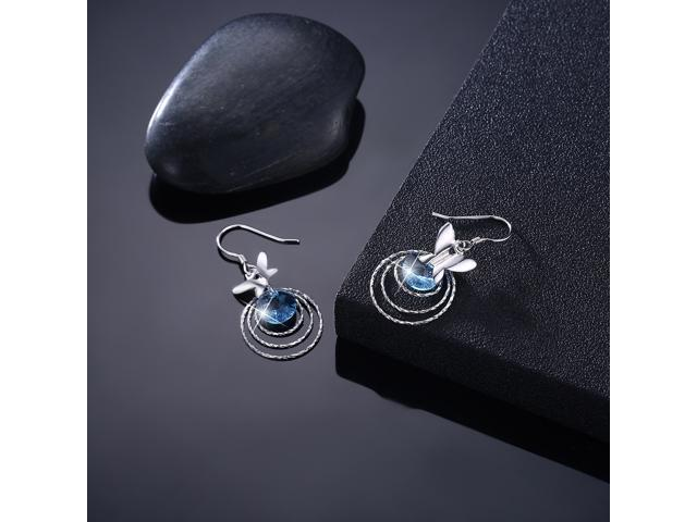 MABELLA Sterling Silver Butterfly Dangling Fish Hook Earrings Embellished with Crystals from Swarovski, Gifts for Women Girls